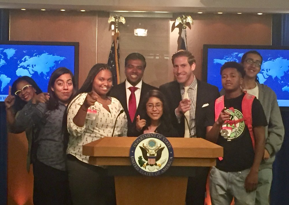 Hosting a group of young leaders from East Oakland, California at the U.S. Department of State - encouraging them to pursue careers in Foreign Affairs and Government