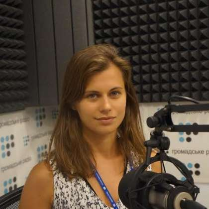 Giving an interview to Hromadske Radio, a Ukrainian radio station, about the human rights situation in eastern Ukraine and the documentation work of the UN Human Rights Monitoring Mission