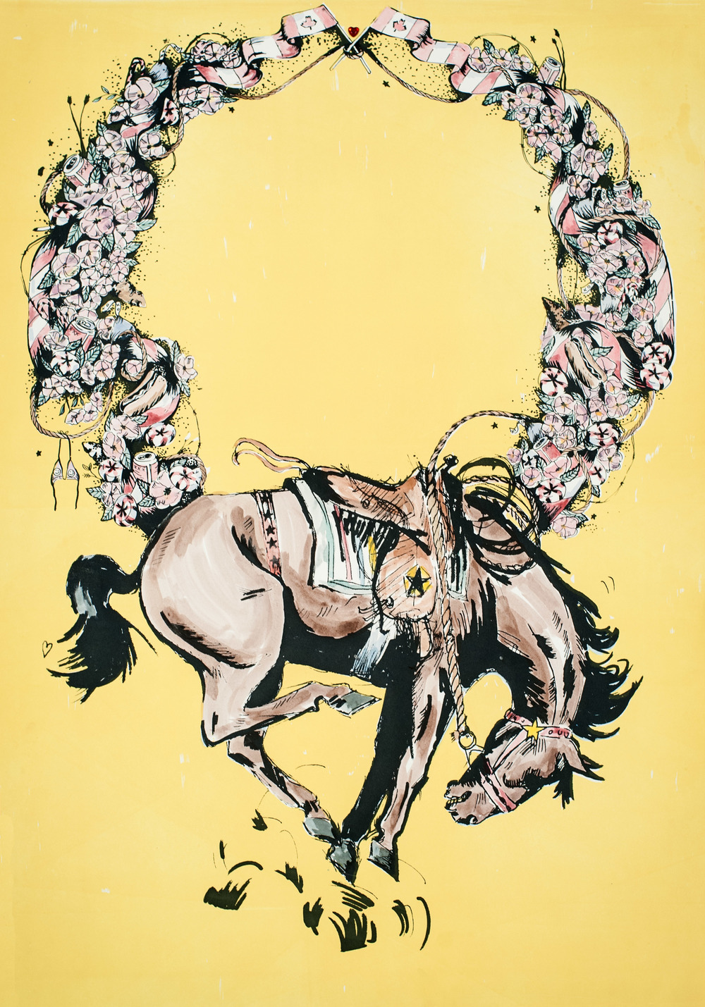 "LET ME GO TO HELL MY OWN WAY I , 2014 Hand tinted lithograph and screen print. 25.5"" x 37""  Photo by Curtis Rothney"