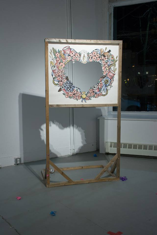 "Photobooth , 2014. Hand tinted woodcut, salvaged wood 30"" x 40"" Collaborative project with Alex MacAskill  Photo by Adrienna Mazteg"