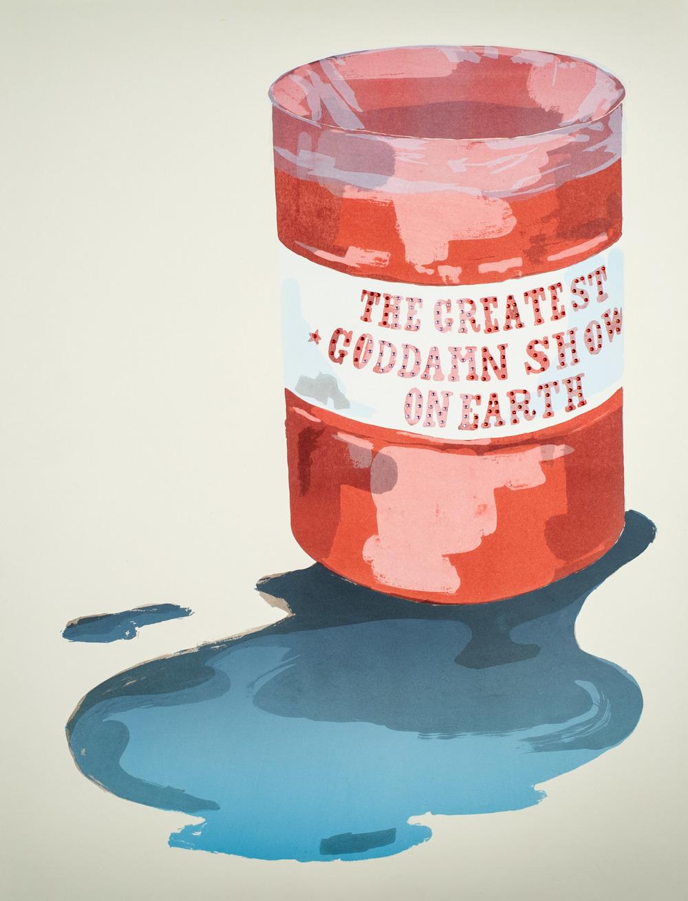 "Pub Crawl IIII, 2014 Lithograph, silkscreen, rhinestones. 22"" x 29"""