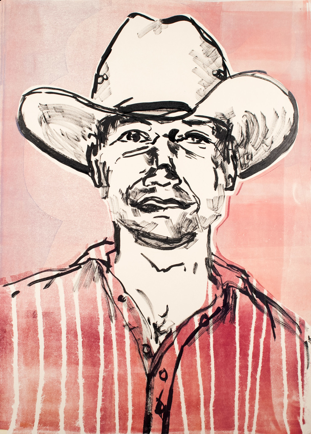 "Deaner , 2013 India ink, monoprint. 19.5"" x 28"""