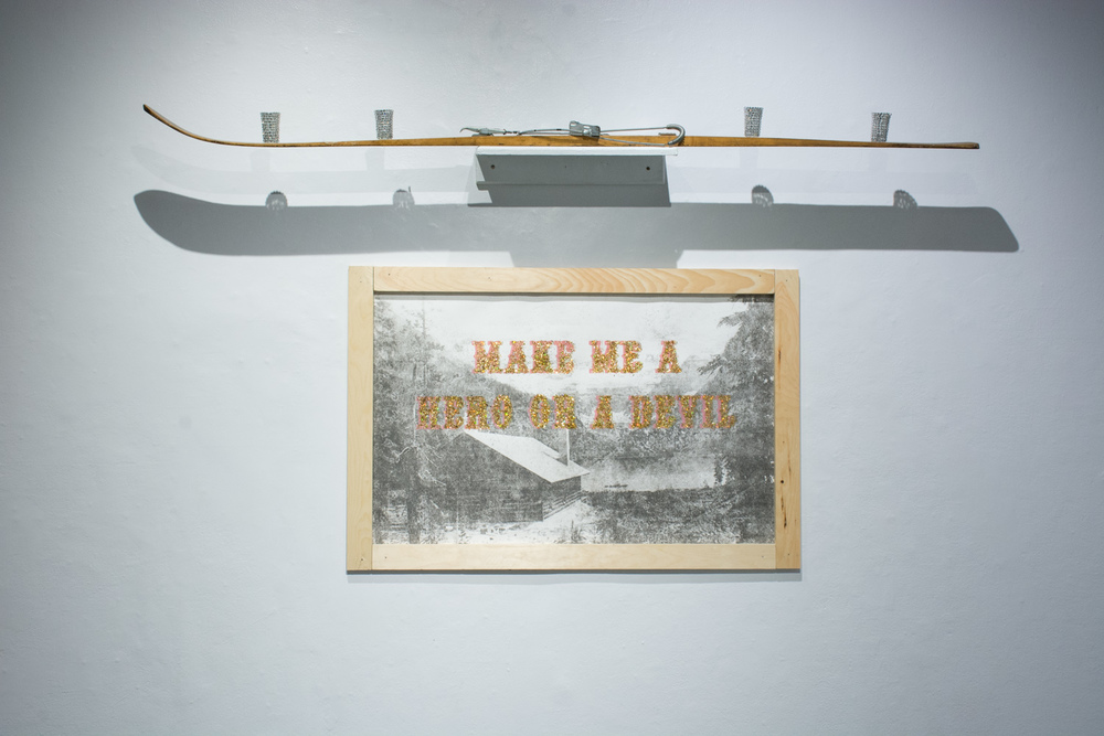 "MAKE ME A HERO OR A DEVIL,  2014 Transfer, silkscreen, sparkles, pine wood. 30"" x 40""  Photo by Adrienna Matzeg"