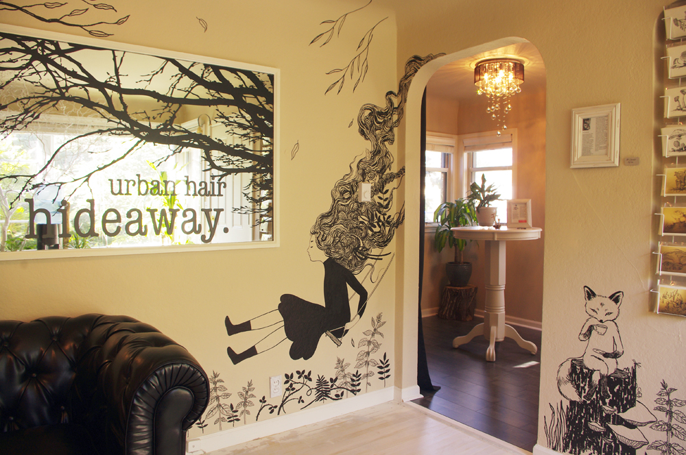 Immediately to your right upon entering, you're greeted with a girl on a swing and a tea-drinking fox! I had the pleasure of helping add some flavor to the interior of the space with some flowing organic black and white murals! I created these with acrylic paint pens. This is my first time working with this method, and it was so much fun! And, if I do say so myself, the results are pretty damn fine.