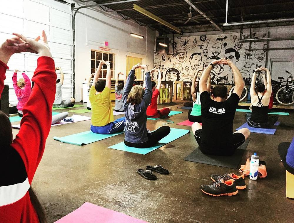 yoga at the bikesmith
