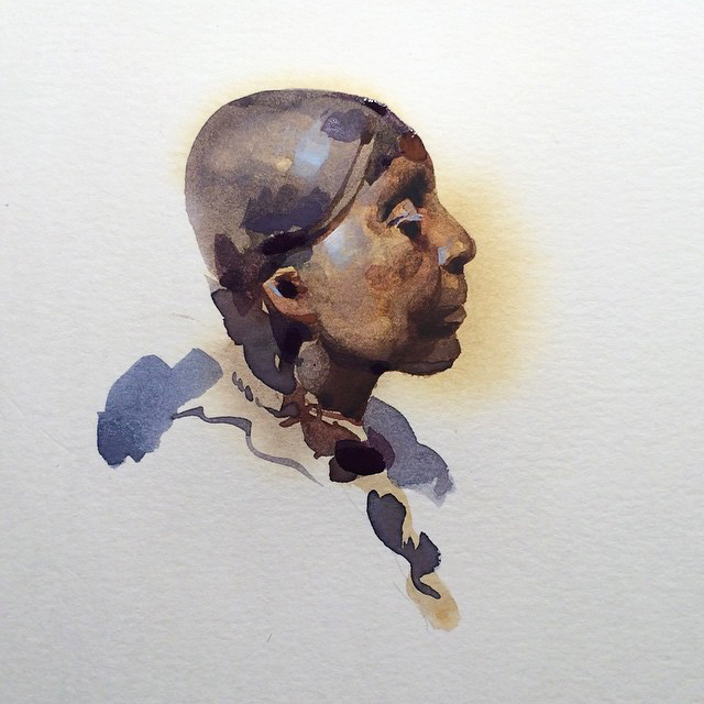 Dignity , watercolor and gouache on paper, 2014.   Sold