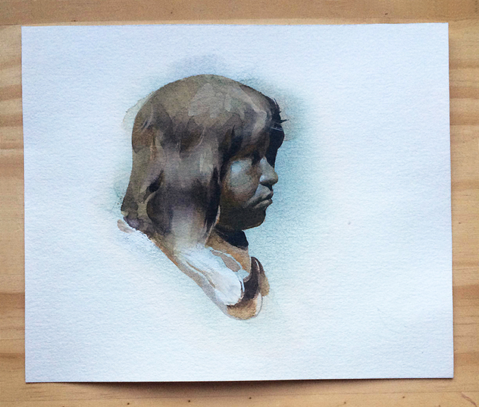 Waiting , watercolor and gouache on paper, 4x5 in., 2014.   Sold