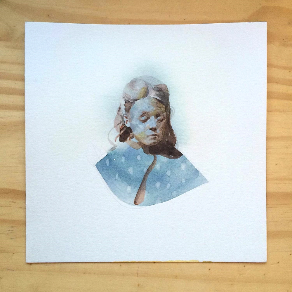 Rest , watercolor on paper, 5x5 in., 2014.   Sold