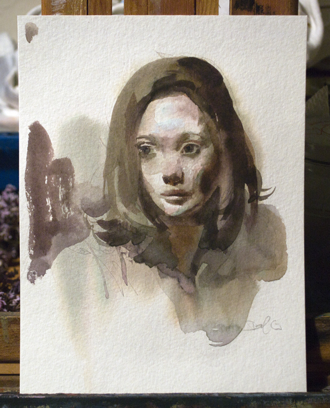 Study of a Woman , watercolor on paper, 6x8 in., 2016,  For Sale