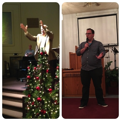 Pastor Ron McCaslin (left) speaking as Spring Creek. Blake (right) speaking at Davenport AG.