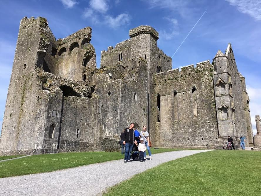 Us on our recent family getaway - this is the Rock of Cashel, an ancient cathedral.