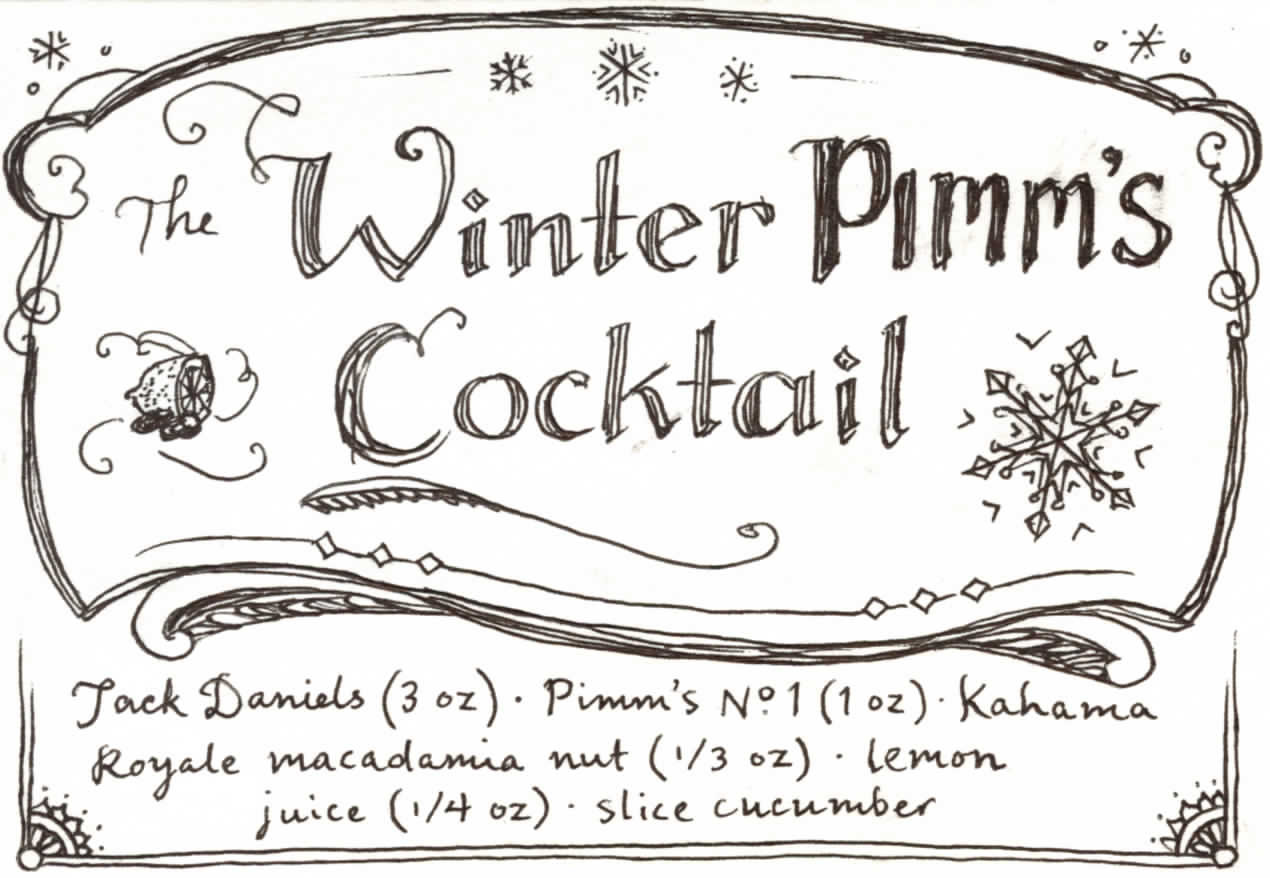 Plate No. 2, featuring Pimm's No. 1: the return of the Winter Pimm's Cocktail. The volumes given for both this and the Bee's Knees are for two people. Or one person drinking a double.