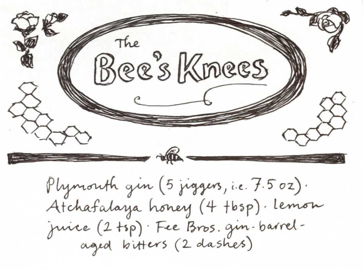 Here's something fun to kick off the week: decorative plates for HCS recipes! We're going to have these for a lot of the drinks we post going forward, but we're back-filling a little to get started. Enjoy the Bee's Knees, rendered in pen and ink!
