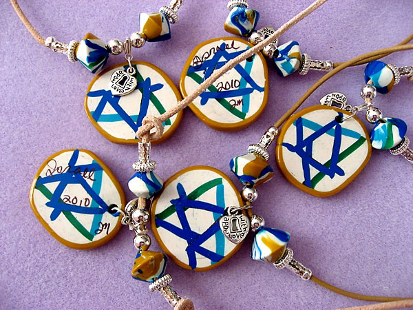 Stars of David Polymer Clay Necklaces