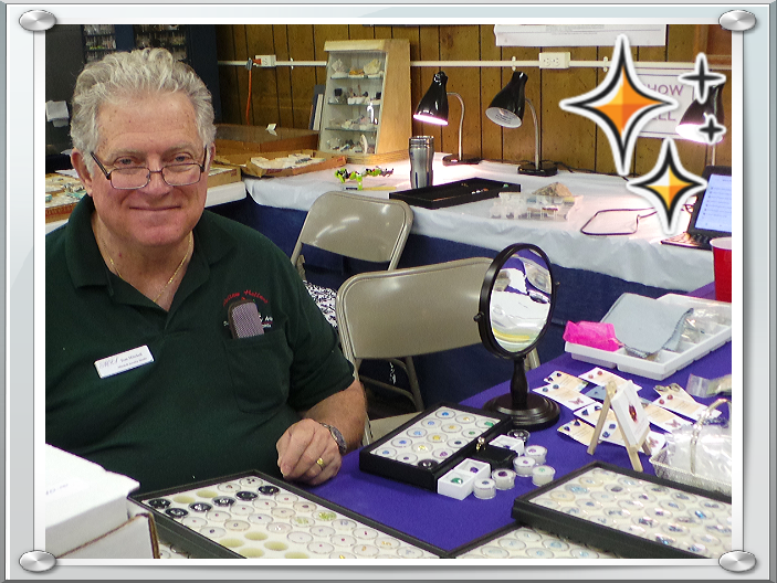Tom Mitchell displaying our gems at a recent gem and mineral show.