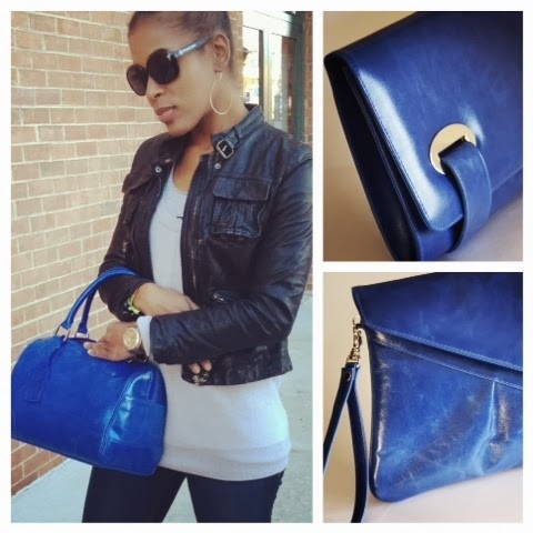 Cobalt: Bowler Bag(l), Alex Square Clutch(top r), Tiffany Envelope Clutch (bottom r)