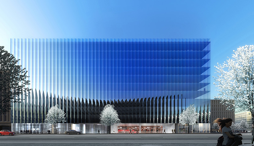 Glass facade architecture  REX unveils office complex for Washington DC with fluted glass ...