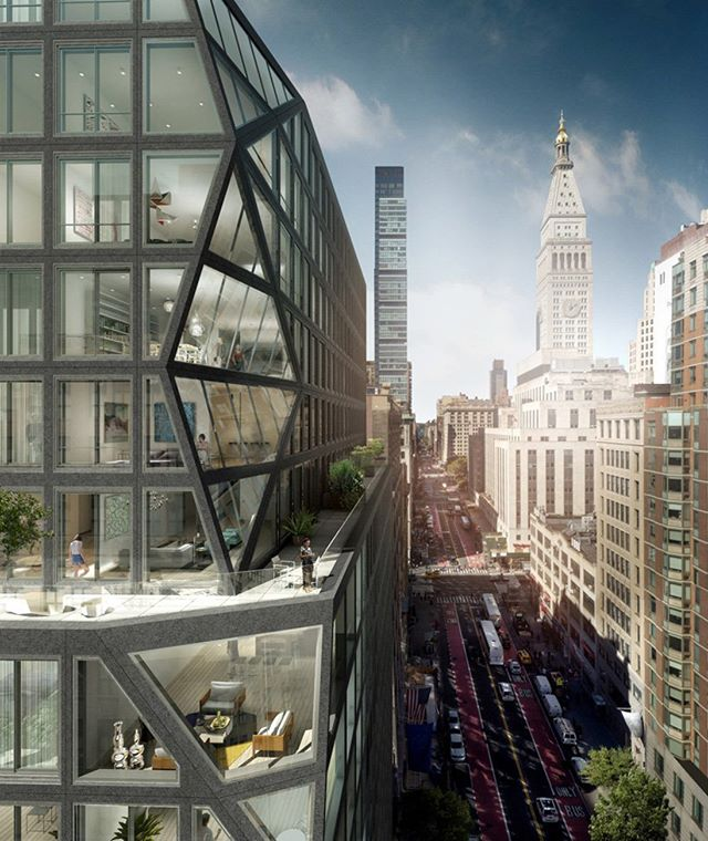 OMA's first residential tower in New York will feature a prismatic corner of glass. Visit www.architectureforfuture.com