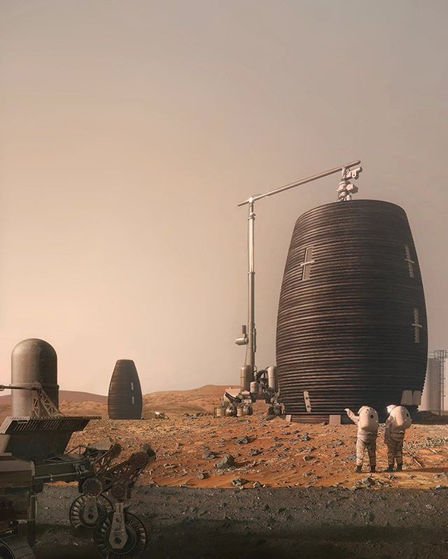 NASA-awarded 'Marsha', a 3D-printed vertical Martian Habitat by AI SpaceFactory. Visit www.architectureforfuture.com
