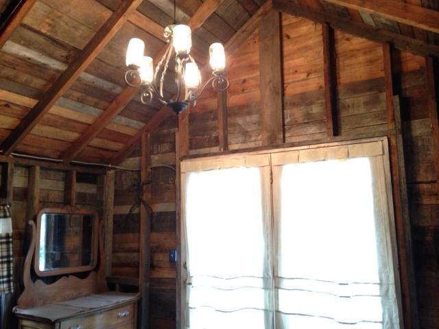 rustic chandelier in front room