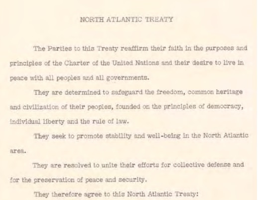 Summary of the North Atlantic Treaty