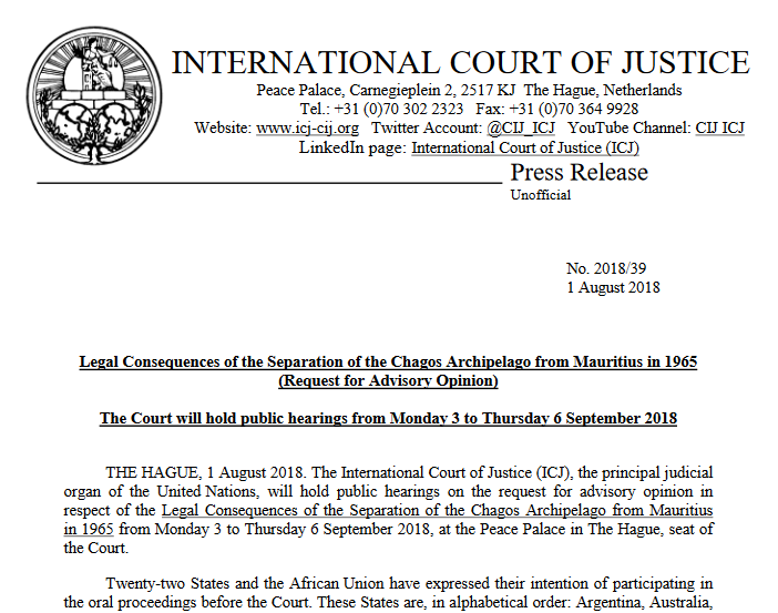 UK-Mauritius advisory opinion on the Chagos Archipelago