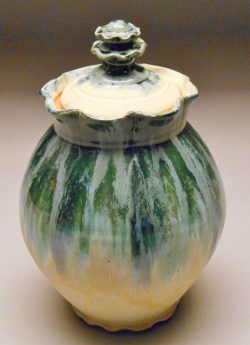 Teal Ruffled Jar