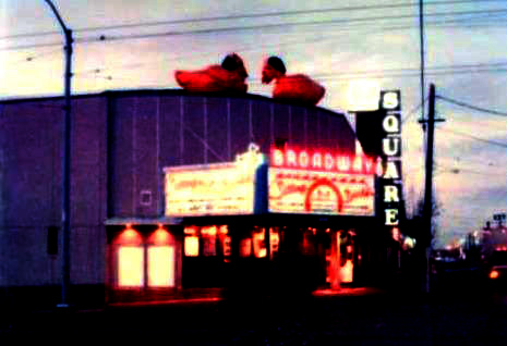 Broadway Cinema with 2 ten foot high ducks and custom Duck neon images on marquee