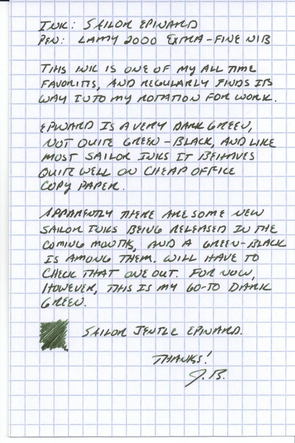 Sailor Epinard Handwritten Review