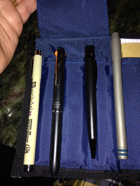 "Four of my preferred ""road pens"""