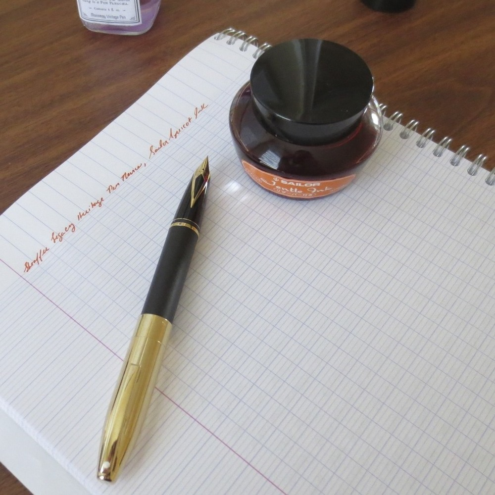 A great combination for annotating documents:  Sheaffer Legacy Heritage with Mike Masuyama-tuned EF Nib, loaded with Sailor Jentle Apricot Ink.