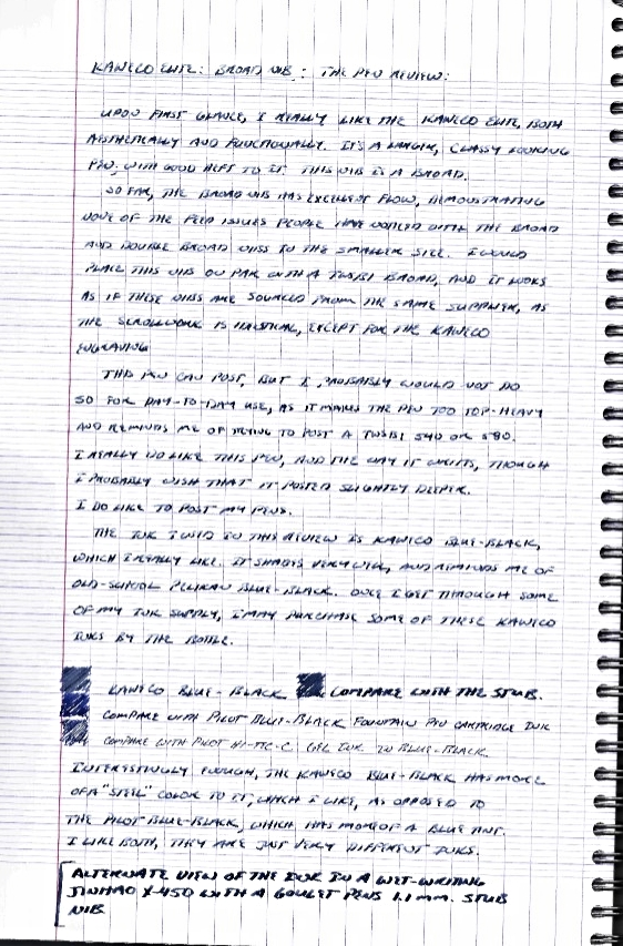 Handwritten review of Kaweco Elite fountain pen.  You may recognize the mini-review of the Kaweco Blue-Black Ink at the bottom.