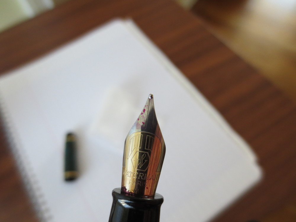 The Phileas Nib is a two-toned steel nib that writes well.  This one is a medium.