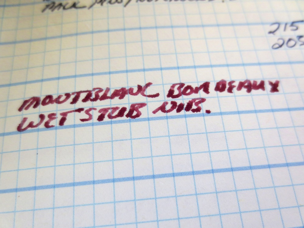 Slight feathering with a VERY wet stub nib.