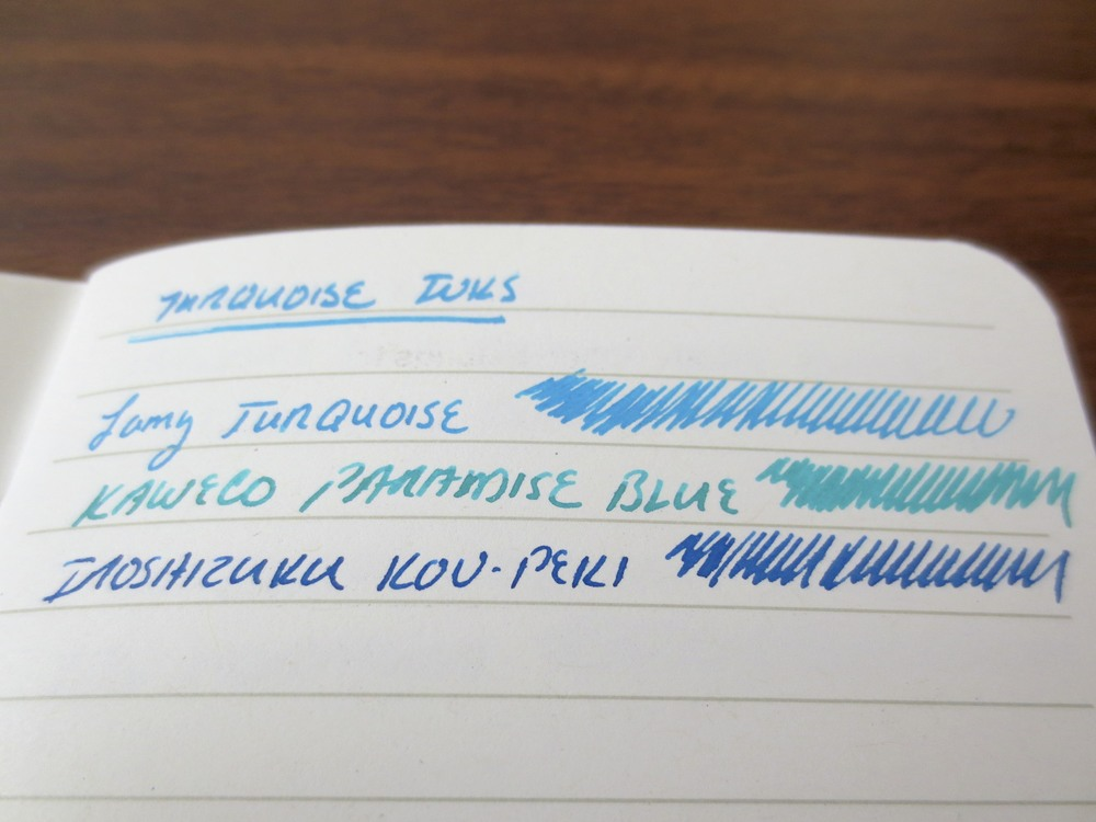 Compared to Lamy Turquoise and Kon-Peki