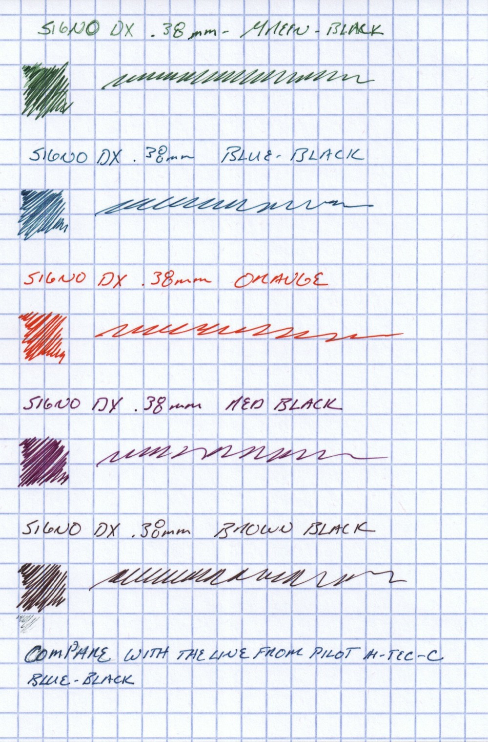 Writing Samples from the five Uni Signo DX Gel pens that I have, all in .38mm tip size.  For comparison purposes, I've also included a writing sample from a blue-black Pilot Hi-Tec-C gel pen, which I find writes a slightly cleaner line than the conical-tip DX.