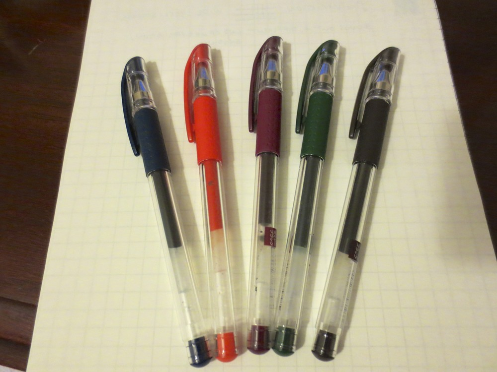 From left:  Blue-Black; Orange; Red-Black; Green-Black; and Brown-Black.