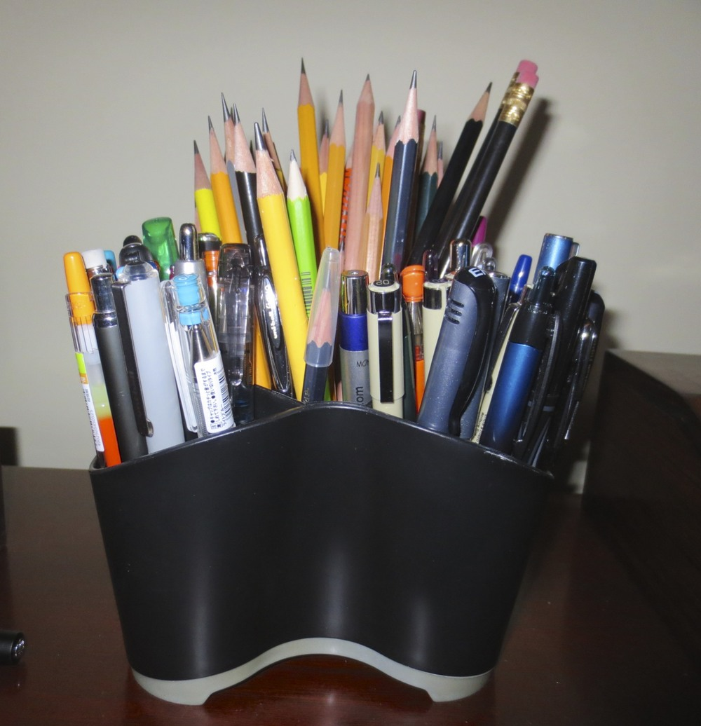 My pen and pencil cup runneth over.