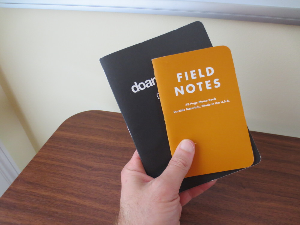 "Here's a size comparison with a Field Notes ""Drink Local"" edition."