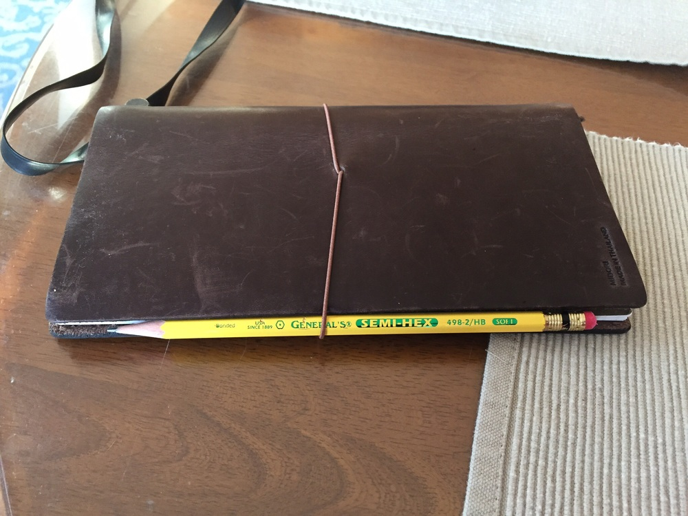 The #2 tucked into the elastic band around my Midori Traveller's Notebook.