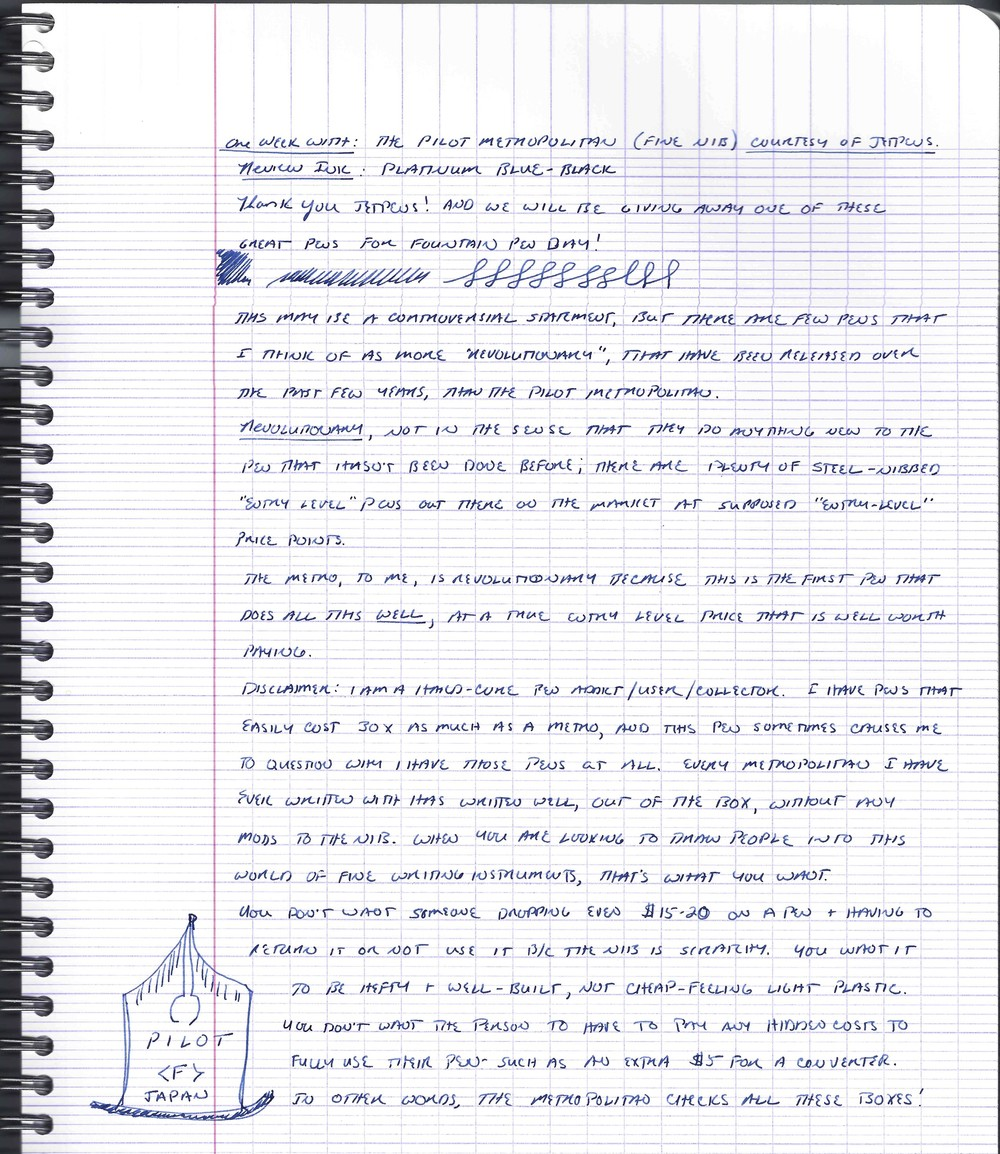Handwritten review.  The ink is Platinum Blue-Black, and the paper is Clairefontaine French-ruled.