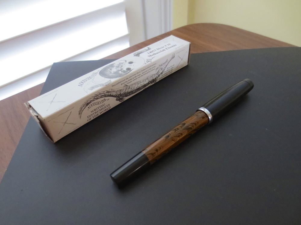 The Noodler's Dixie No. 10 Methuselah Ebonite, with standard Noodler's luxury packaging.