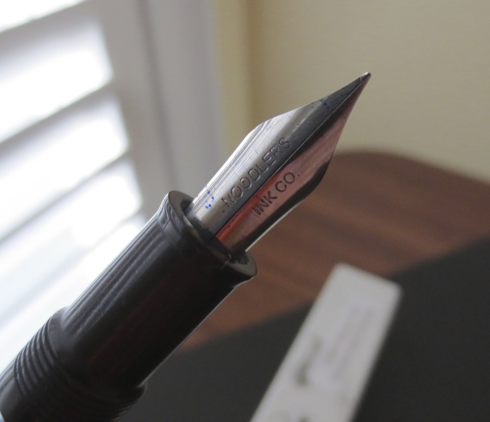 Noodler's steel flex nib.  Note the nib slit that runs the entire length of the nib.