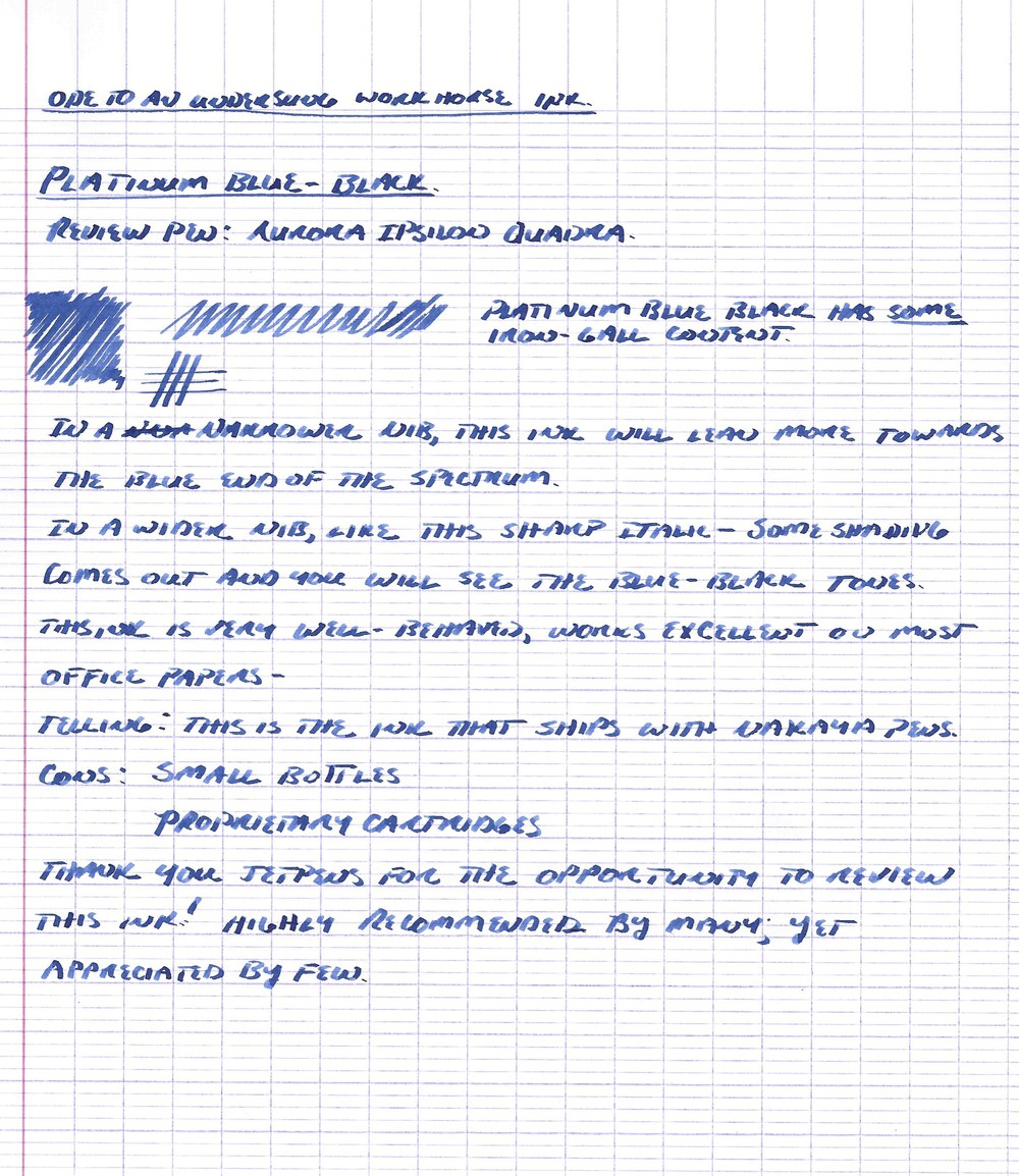 Handwritten review with Aurora Ipsilon Quadra fountain pen, stub nib.