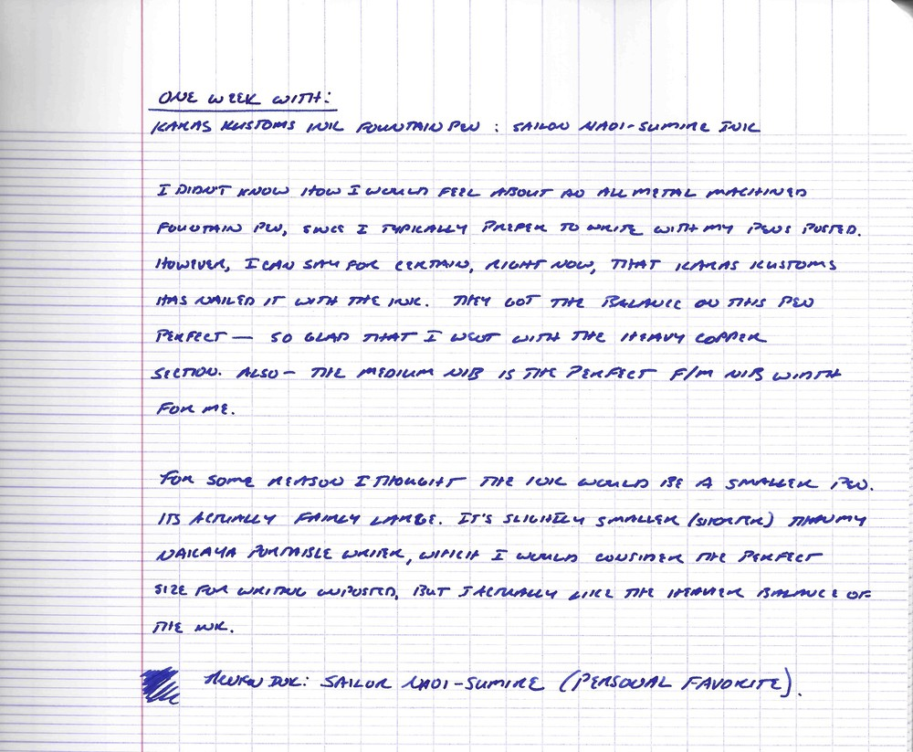 Karas Kustoms Ink handwritten review with Sailor Naoi-Sumire.