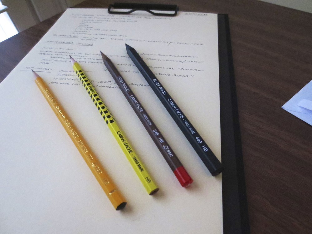 From left to right:  Caran d'Ache Technograph, Grafik, Swiss Wood, and Black Wood pencils.