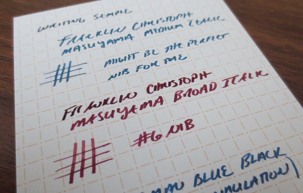 Writing sample for the Model 66 Pocket (Masuyama Broad Italic) in vintage Montblanc Bordeaux.