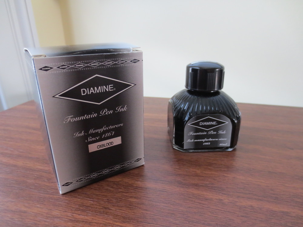 Diamine Oxblood Ink Bottle and Box