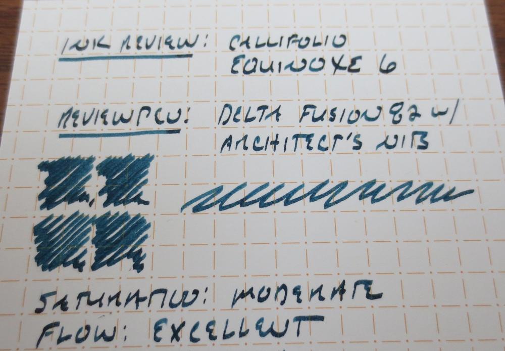 Callifolio Equinoxe 6 writing sample.
