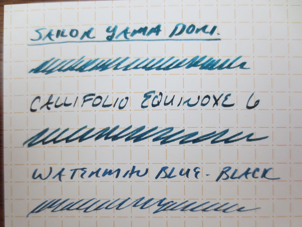 The two colors I have that are most comparable are Sailor Yama Dori and Waterman Blue-Black.  Equinoxe 6 falls somewhere in the middle:  Darker and more green than the Yama Dori, but less blue than the Waterman.  Another candidate for comparison is  Noodler's discontinued Pinstripe Homage,  though the Callifolio is much better behaved (meaning that it dries quickly).
